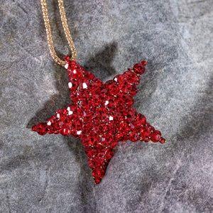 Jewelry - Red Rhinestone Star pendant/pin NWOT